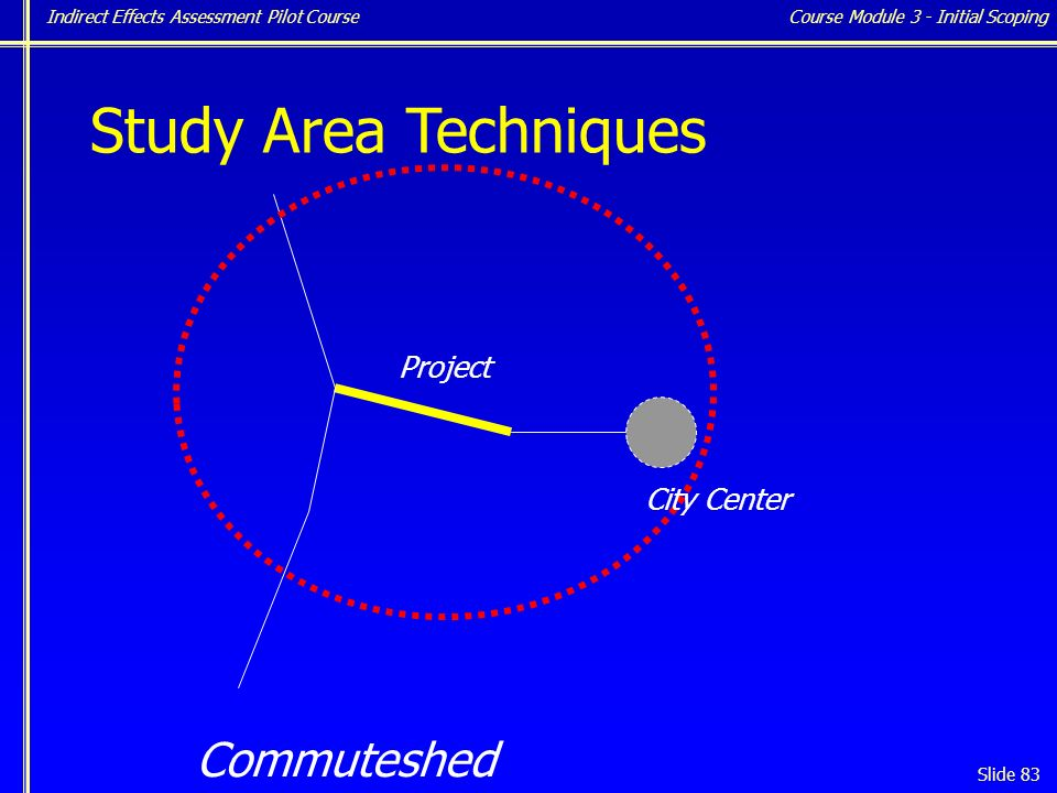 Indirect Effects Assessment Pilot Course Slide 83 Study Area Techniques Project Commuteshed City Center Course Module 3 - Initial Scoping
