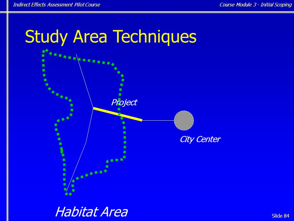 Indirect Effects Assessment Pilot Course Slide 84 Study Area Techniques Habitat Area Project City Center Course Module 3 - Initial Scoping