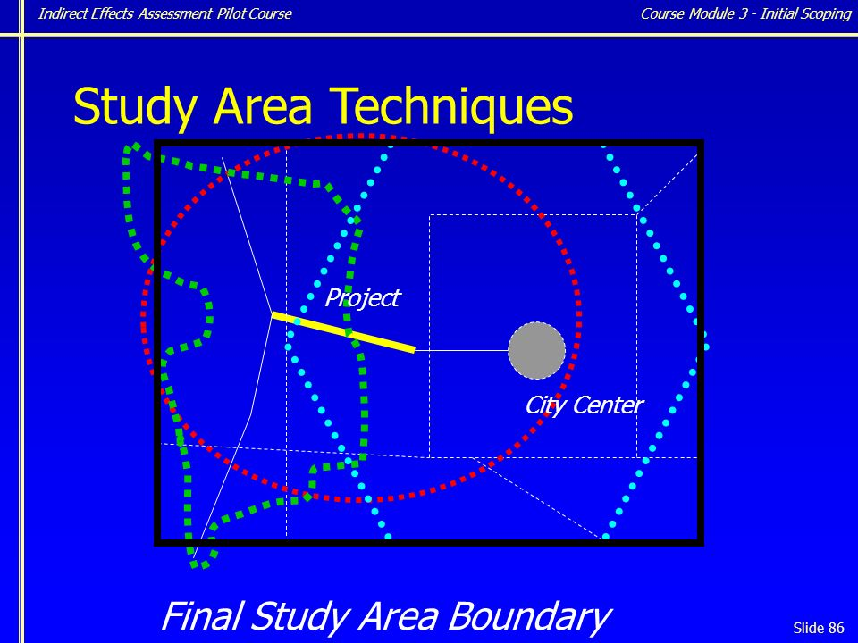 Indirect Effects Assessment Pilot Course Slide 86 Study Area Techniques Final Study Area Boundary Project City Center Course Module 3 - Initial Scoping