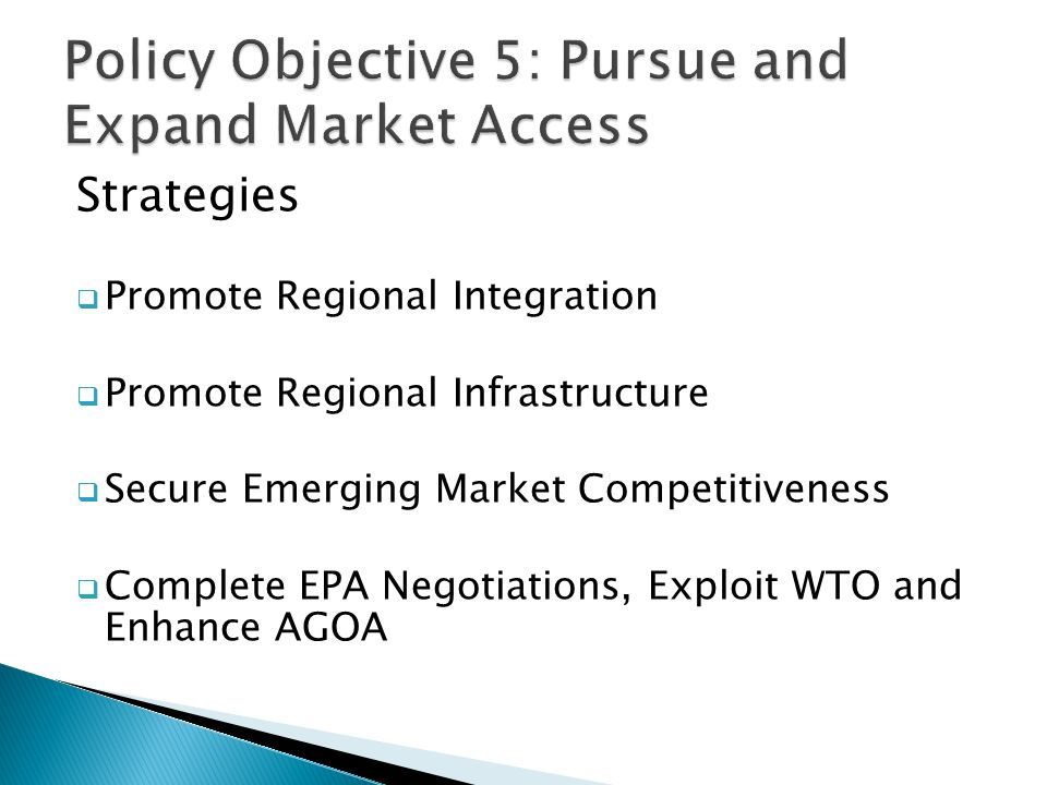 Strategies  Promote Regional Integration  Promote Regional Infrastructure  Secure Emerging Market Competitiveness  Complete EPA Negotiations, Exploit WTO and Enhance AGOA