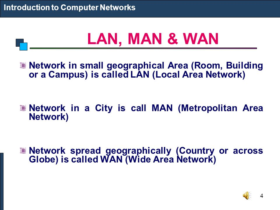 4 LAN, MAN & WAN Introduction to Computer Networks Network in small geographical Area (Room, Building or a Campus) is called LAN (Local Area Network) Network in a City is call MAN (Metropolitan Area Network) Network spread geographically (Country or across Globe) is called WAN (Wide Area Network)
