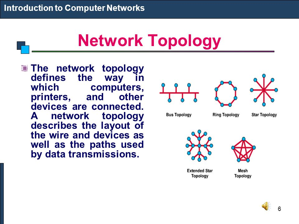 6 Network Topology The network topology defines the way in which computers, printers, and other devices are connected.