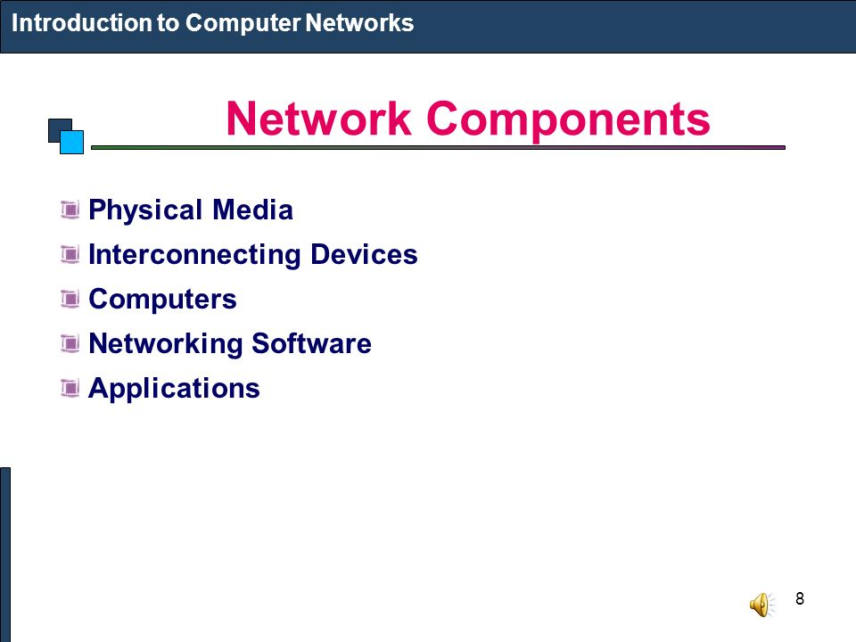 8 Network Components Introduction to Computer Networks Physical Media Interconnecting Devices Computers Networking Software Applications