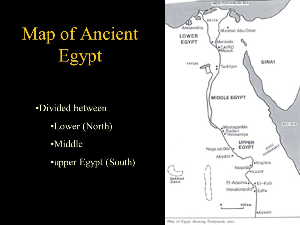 Divided Between Lower North Middle Upper Egypt South Map Of