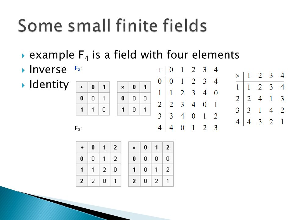  example F 4 is a field with four elements  Inverse  Identity