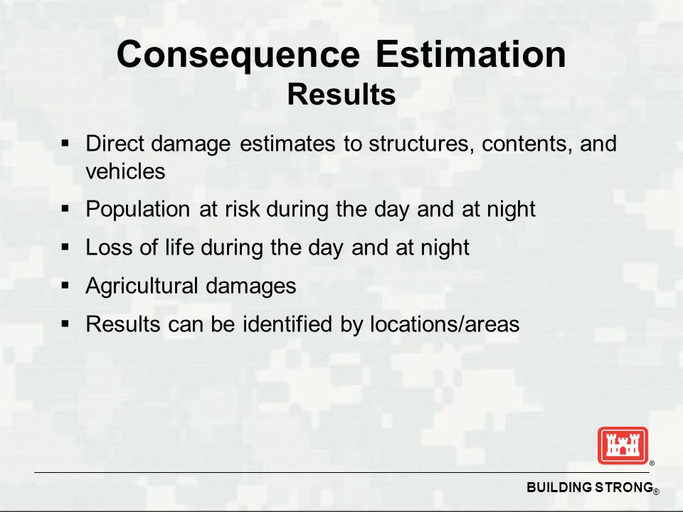 BUILDING STRONG ® Consequence Estimation Results  Direct damage estimates to structures, contents, and vehicles  Population at risk during the day and at night  Loss of life during the day and at night  Agricultural damages  Results can be identified by locations/areas