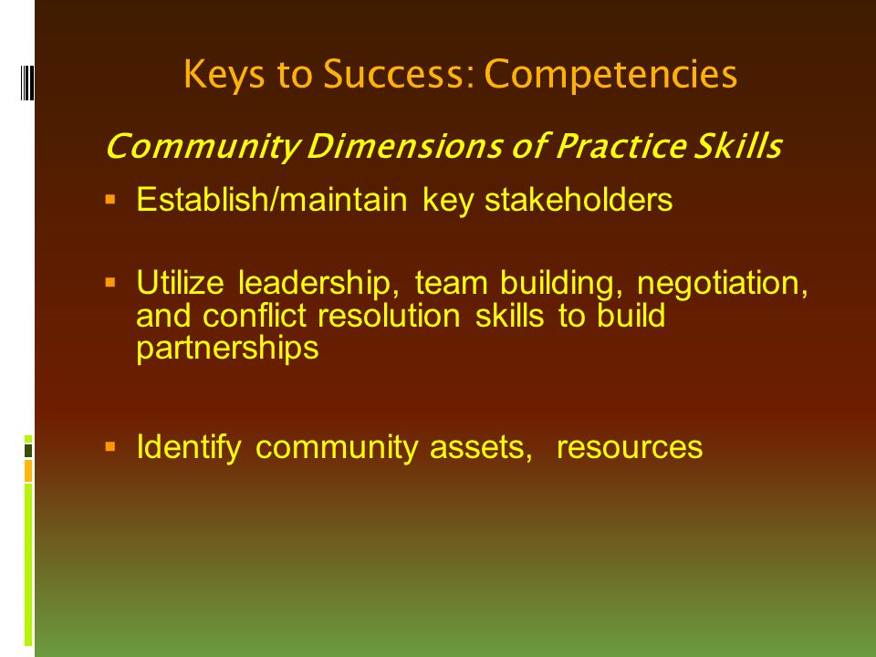 Keys to Success: Competencies Community Dimensions of Practice Skills  Establish/maintain key stakeholders  Utilize leadership, team building, negotiation, and conflict resolution skills to build partnerships  Identify community assets, resources