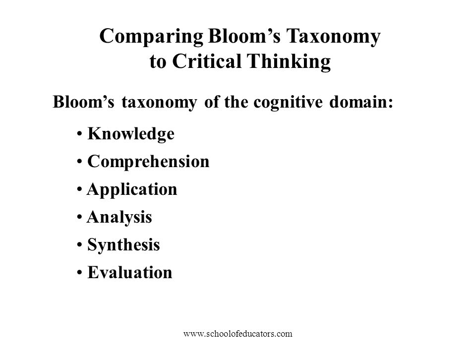 Comparing Bloom's Taxonomy to Critical Thinking Bloom's taxonomy of the cognitive domain: Knowledge Comprehension Application Analysis Synthesis Evaluation
