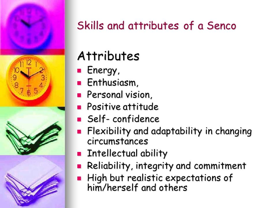 Skills and attributes of a Senco Attributes Energy, Energy, Enthusiasm, Enthusiasm, Personal vision, Personal vision, Positive attitude Positive attitude Self- confidence Self- confidence Flexibility and adaptability in changing circumstances Flexibility and adaptability in changing circumstances Intellectual ability Intellectual ability Reliability, integrity and commitment Reliability, integrity and commitment High but realistic expectations of him/herself and others High but realistic expectations of him/herself and others