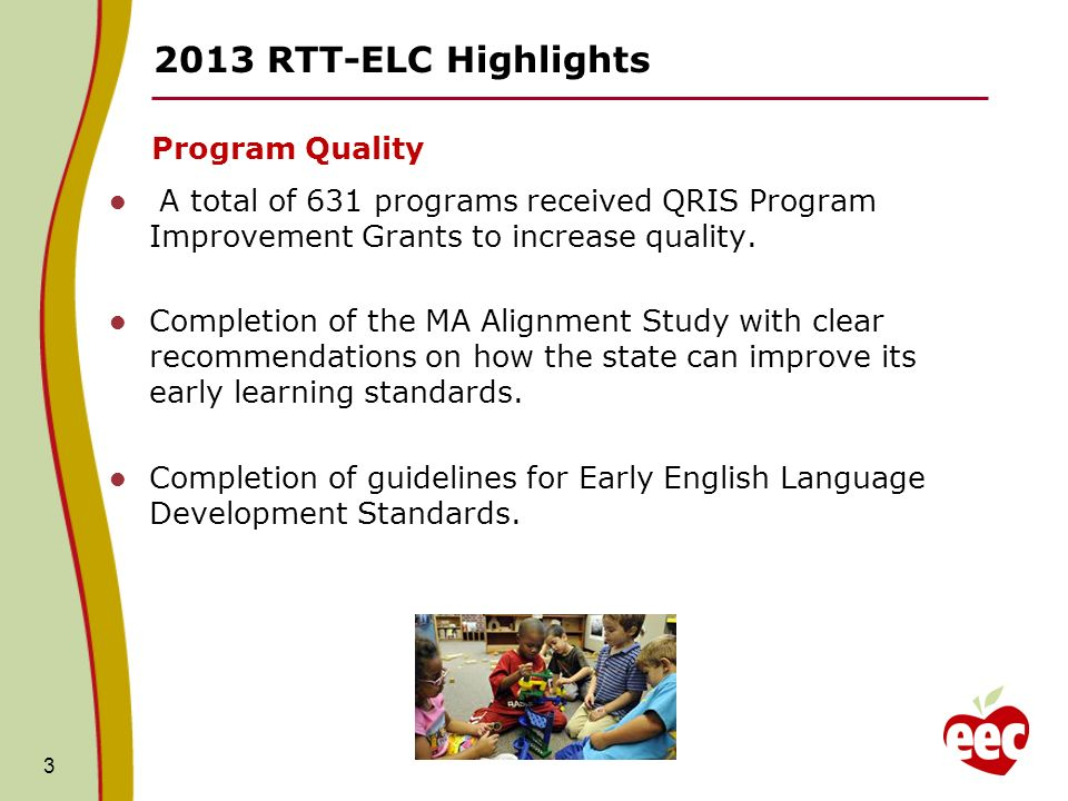 RTT-ELC Highlights Program Quality A total of 631 programs received QRIS Program Improvement Grants to increase quality.