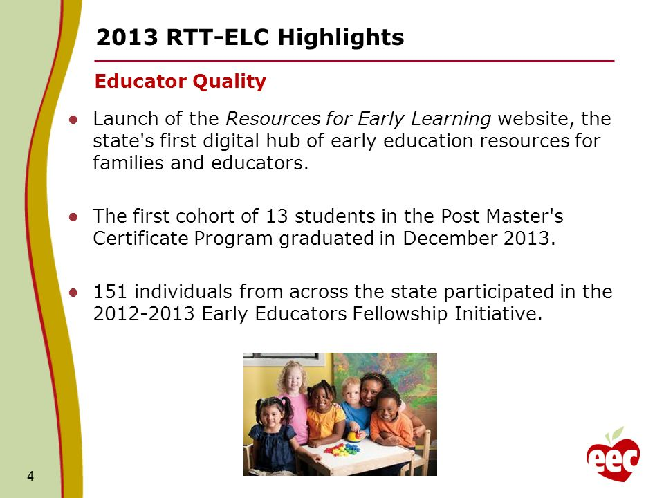 RTT-ELC Highlights Educator Quality Launch of the Resources for Early Learning website, the state s first digital hub of early education resources for families and educators.
