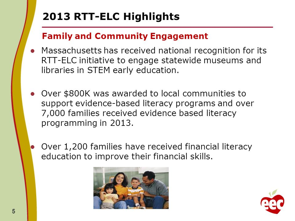 RTT-ELC Highlights Family and Community Engagement Massachusetts has received national recognition for its RTT-ELC initiative to engage statewide museums and libraries in STEM early education.