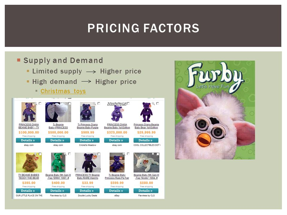  Supply and Demand  Limited supply Higher price  High demand Higher price  Christmas toys Christmas toys PRICING FACTORS