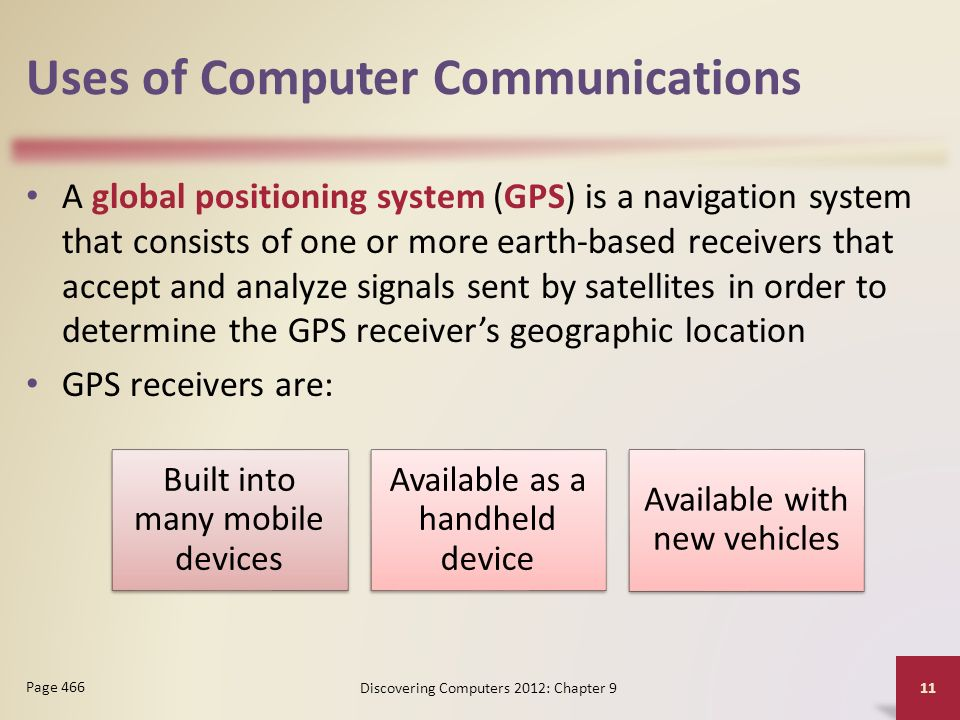 Uses of Computer Communications A global positioning system (GPS) is a navigation system that consists of one or more earth-based receivers that accept and analyze signals sent by satellites in order to determine the GPS receiver's geographic location GPS receivers are: Discovering Computers 2012: Chapter 9 11 Page 466 Built into many mobile devices Available as a handheld device Available with new vehicles