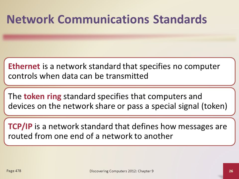 Network Communications Standards Ethernet is a network standard that specifies no computer controls when data can be transmitted The token ring standard specifies that computers and devices on the network share or pass a special signal (token) TCP/IP is a network standard that defines how messages are routed from one end of a network to another Discovering Computers 2012: Chapter 9 26 Page 478