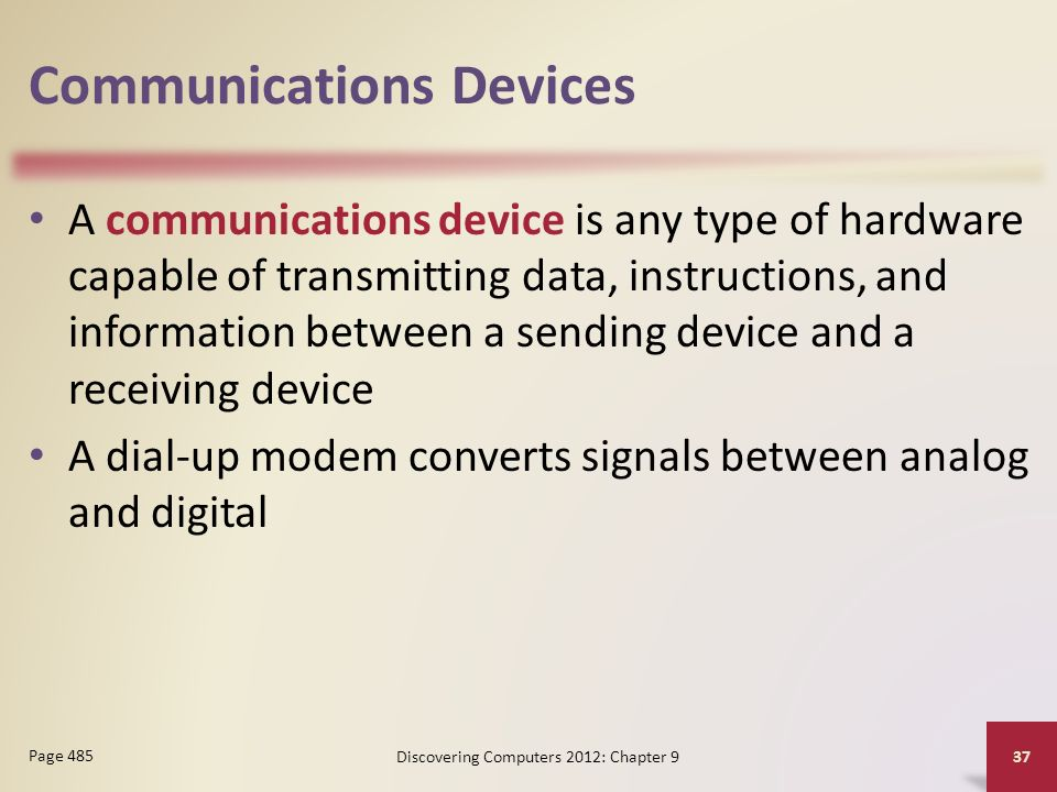 Communications Devices A communications device is any type of hardware capable of transmitting data, instructions, and information between a sending device and a receiving device A dial-up modem converts signals between analog and digital Discovering Computers 2012: Chapter 9 37 Page 485