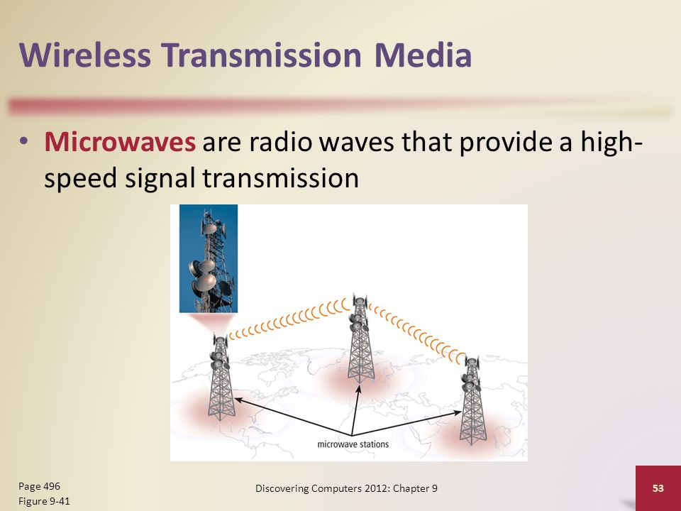 Wireless Transmission Media Microwaves are radio waves that provide a high- speed signal transmission Discovering Computers 2012: Chapter 9 53 Page 496 Figure 9-41