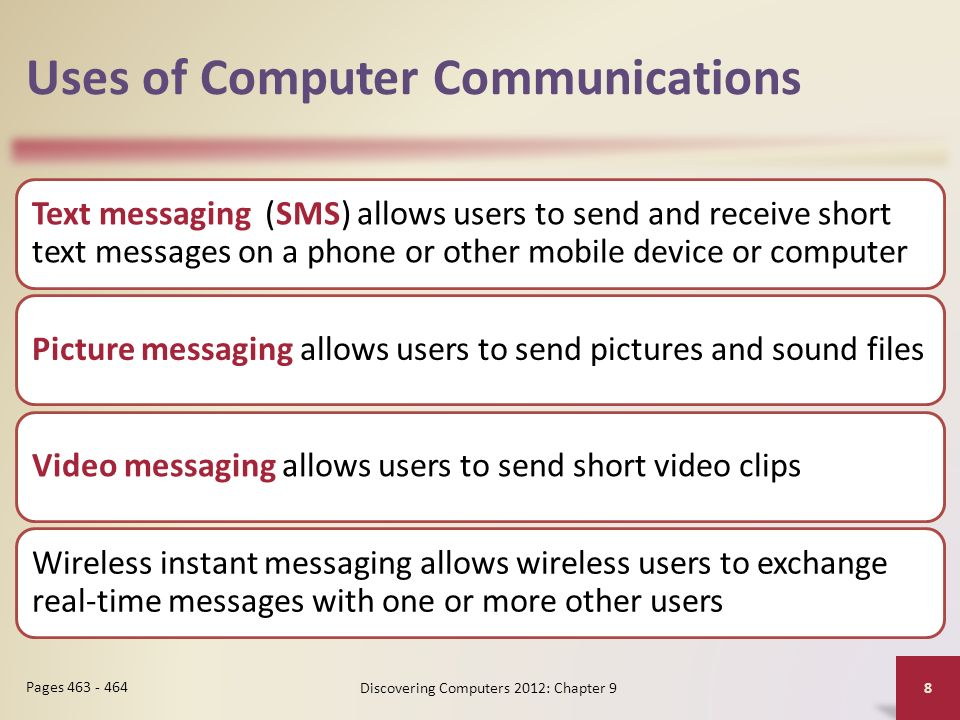 Uses of Computer Communications Text messaging (SMS) allows users to send and receive short text messages on a phone or other mobile device or computer Picture messaging allows users to send pictures and sound files Video messaging allows users to send short video clips Wireless instant messaging allows wireless users to exchange real-time messages with one or more other users Discovering Computers 2012: Chapter 9 8 Pages