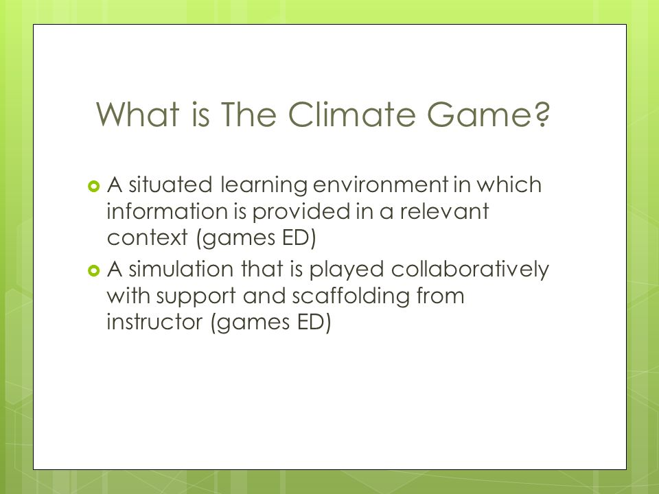 What is The Climate Game.