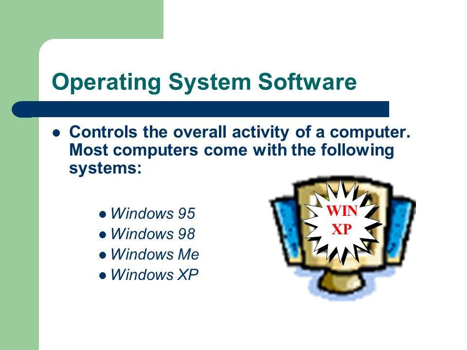 Operating System Software Controls the overall activity of a computer.