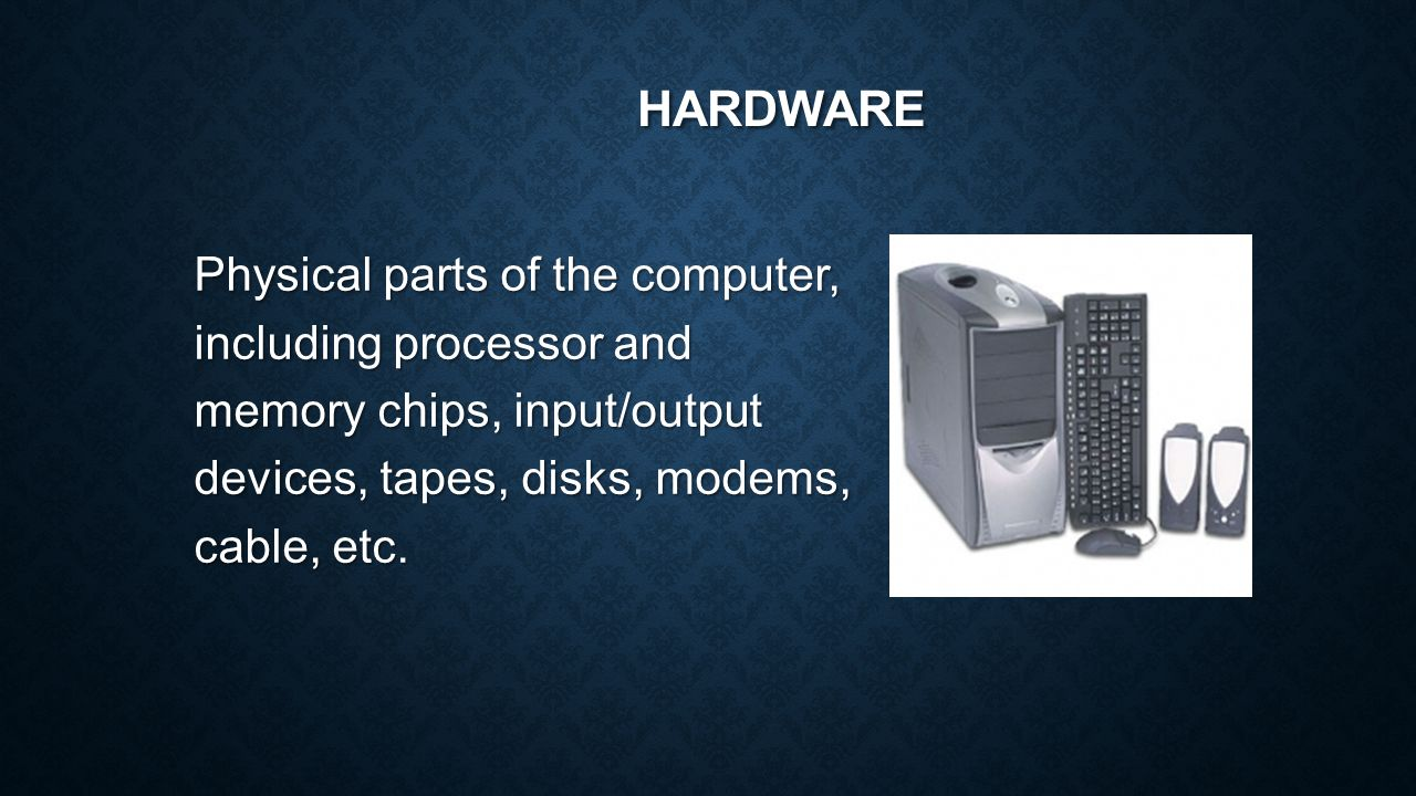 Computer Parts There Are Many That Work Together To Make A Diagram Basic Of 3 Hardware Physical The Including Processor And Memory Chips Input Output Devices Tapes Disks Modems Cable Etc