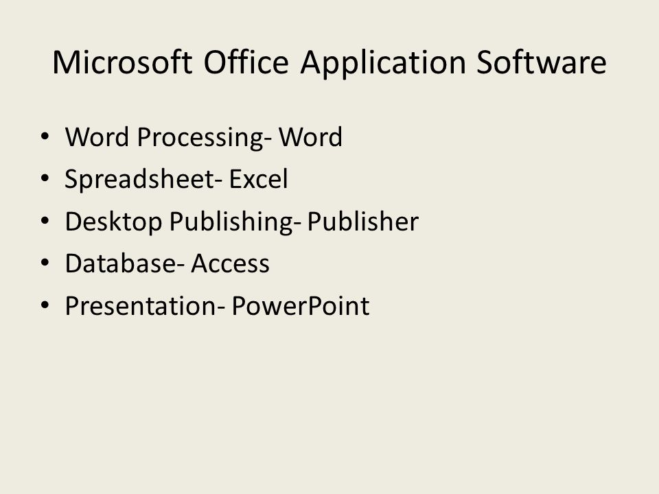 Microsoft Office Application Software Word Processing- Word Spreadsheet- Excel Desktop Publishing- Publisher Database- Access Presentation- PowerPoint
