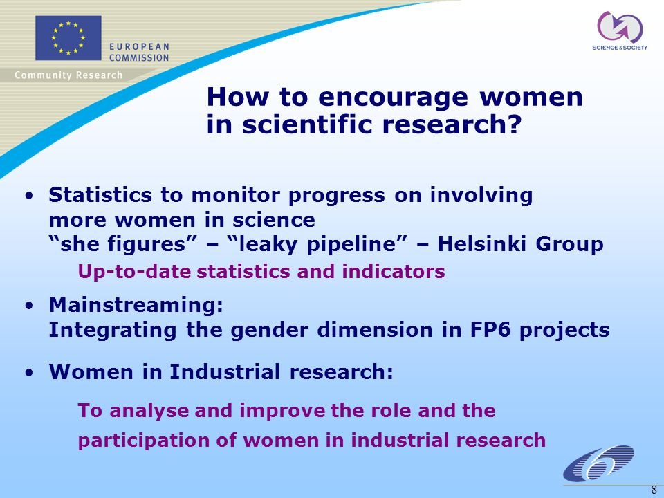 8 How to encourage women in scientific research.