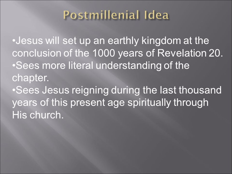 Jesus will set up an earthly kingdom at the conclusion of the 1000 years of Revelation 20.