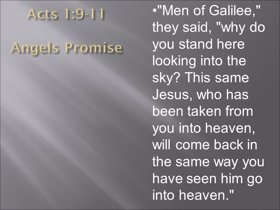 Men of Galilee, they said, why do you stand here looking into the sky.