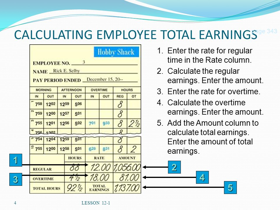 4LESSON 12-1 CALCULATING EMPLOYEE TOTAL EARNINGS page Enter the rate for regular time in the Rate column.
