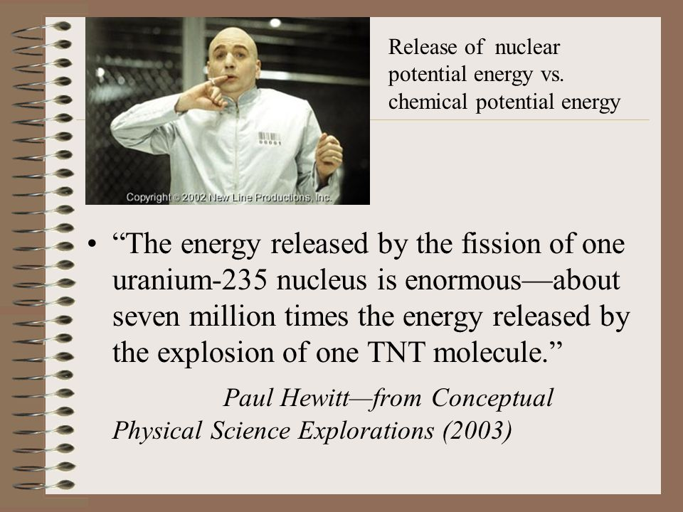 The energy released by the fission of one uranium-235 nucleus is enormous—about seven million times the energy released by the explosion of one TNT molecule. Paul Hewitt—from Conceptual Physical Science Explorations (2003) Release of nuclear potential energy vs.