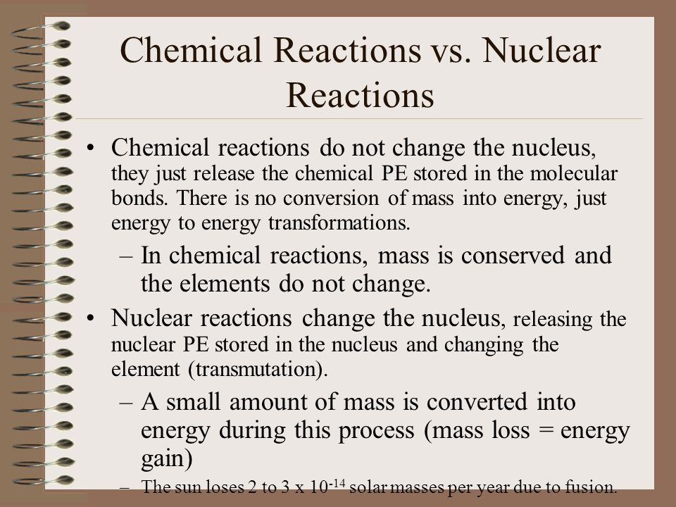 Chemical Reactions vs.