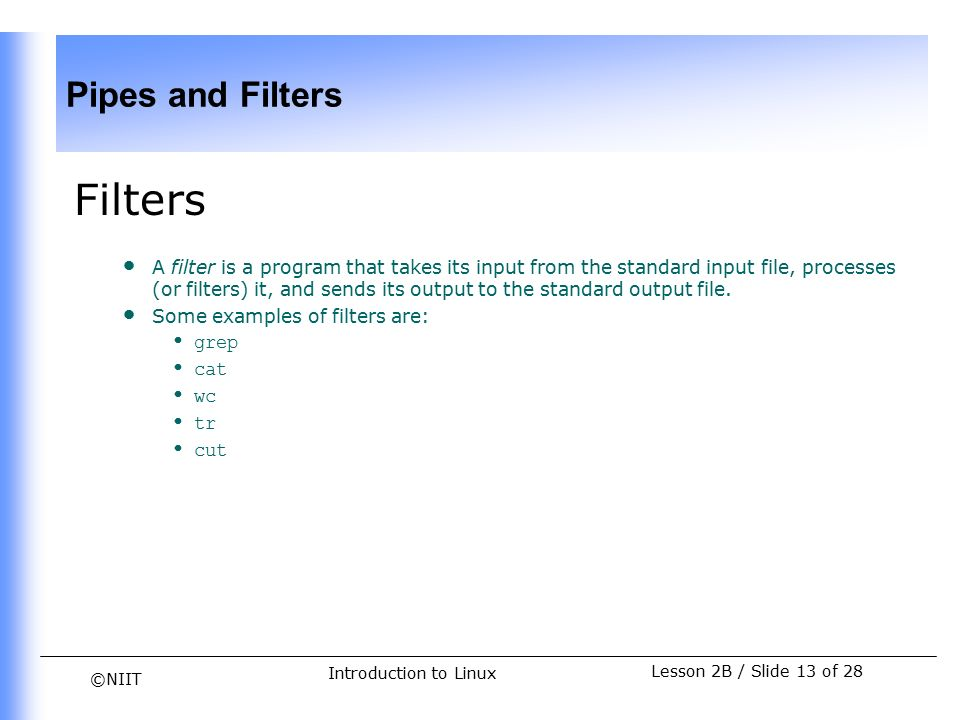 Niit Pipes And Filters Lesson 2b Slide 1 Of 28 Introduction To