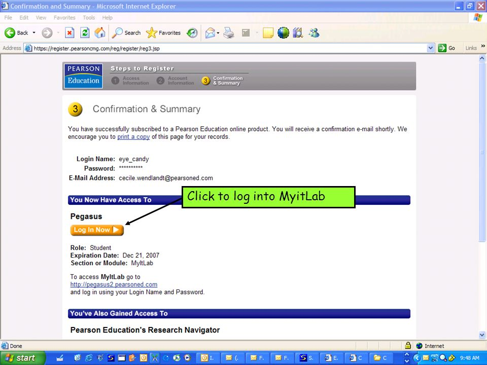 Click to log into MyitLab