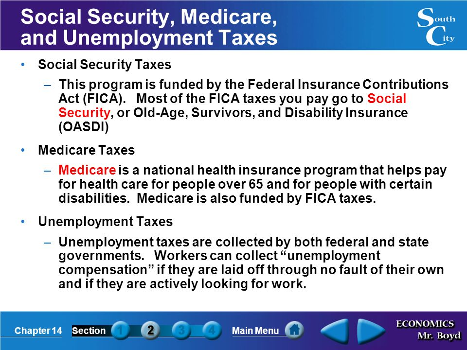 Chapter 14SectionMain Menu Social Security, Medicare, and Unemployment Taxes Social Security Taxes –This program is funded by the Federal Insurance Contributions Act (FICA).