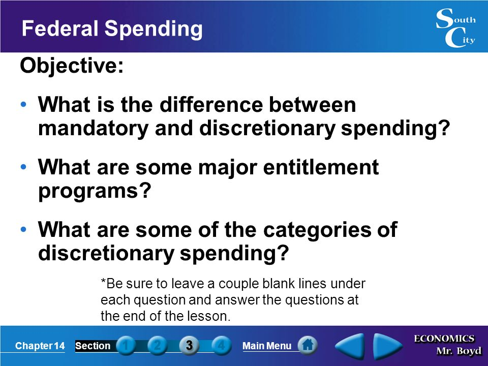 Chapter 14SectionMain Menu Federal Spending Objective: What is the difference between mandatory and discretionary spending.