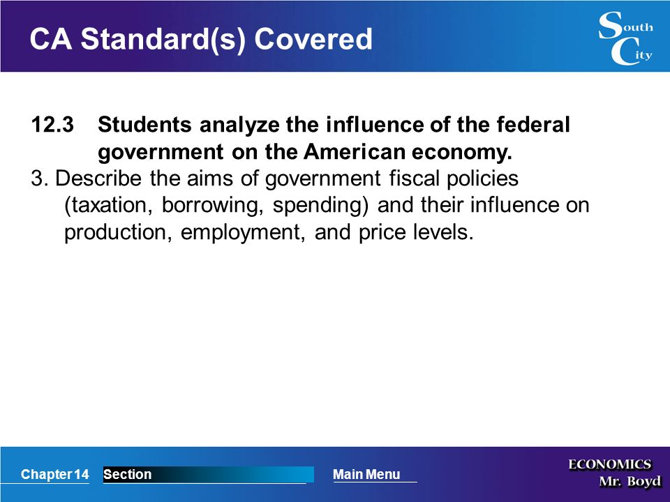 Chapter 14SectionMain Menu CA Standard(s) Covered 12.3Students analyze the influence of the federal government on the American economy.