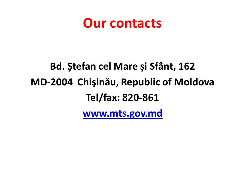 Our contacts Bd.