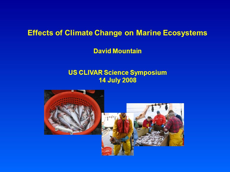 Effects of Climate Change on Marine Ecosystems David Mountain US CLIVAR Science Symposium 14 July 2008