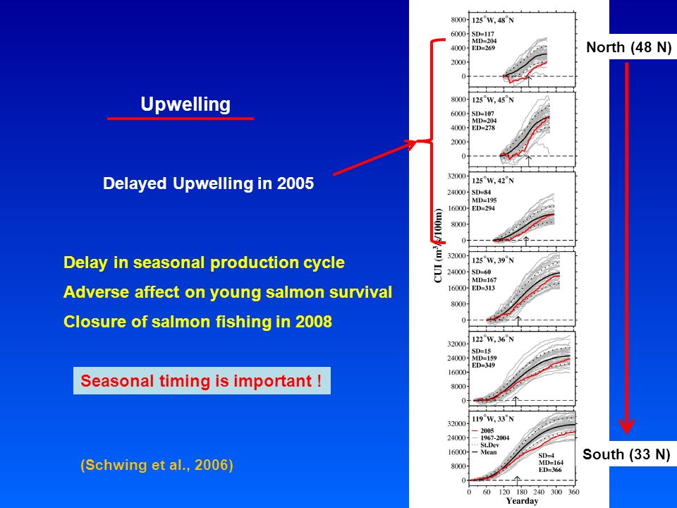 Delayed Upwelling in 2005 North (48 N) South (33 N) Delay in seasonal production cycle Adverse affect on young salmon survival Closure of salmon fishing in 2008 (Schwing et al., 2006) Upwelling Seasonal timing is important !