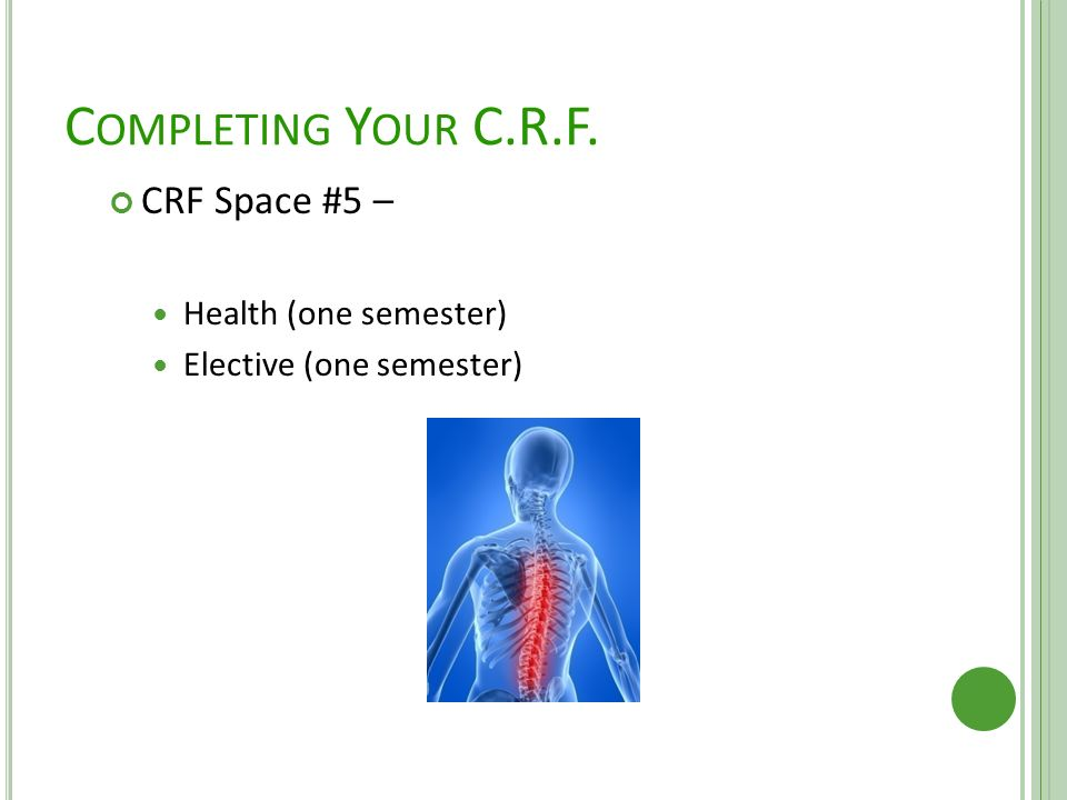 C OMPLETING Y OUR C.R.F. CRF Space #5 – Health (one semester) Elective (one semester)