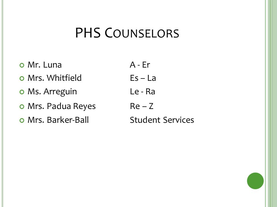 PHS C OUNSELORS Mr. LunaA - Er Mrs. Whitfield Es – La Ms.