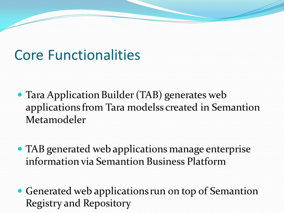 Core Functionalities Tara Application Builder (TAB) generates web applications from Tara modelss created in Semantion Metamodeler TAB generated web applications manage enterprise information via Semantion Business Platform Generated web applications run on top of Semantion Registry and Repository