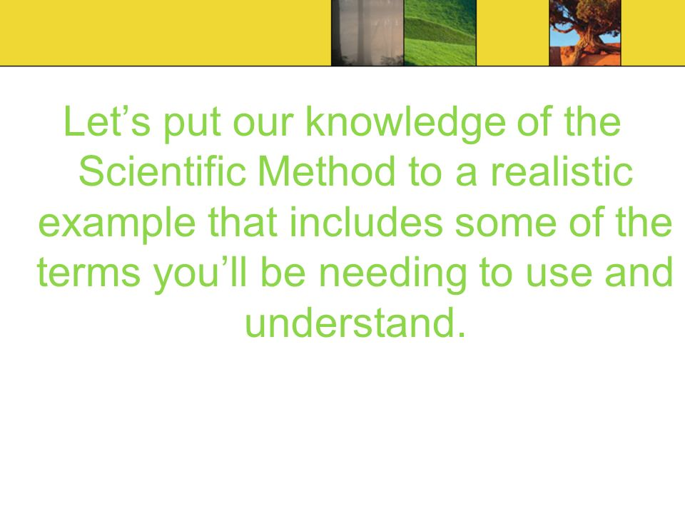Let's put our knowledge of the Scientific Method to a realistic example that includes some of the terms you'll be needing to use and understand.
