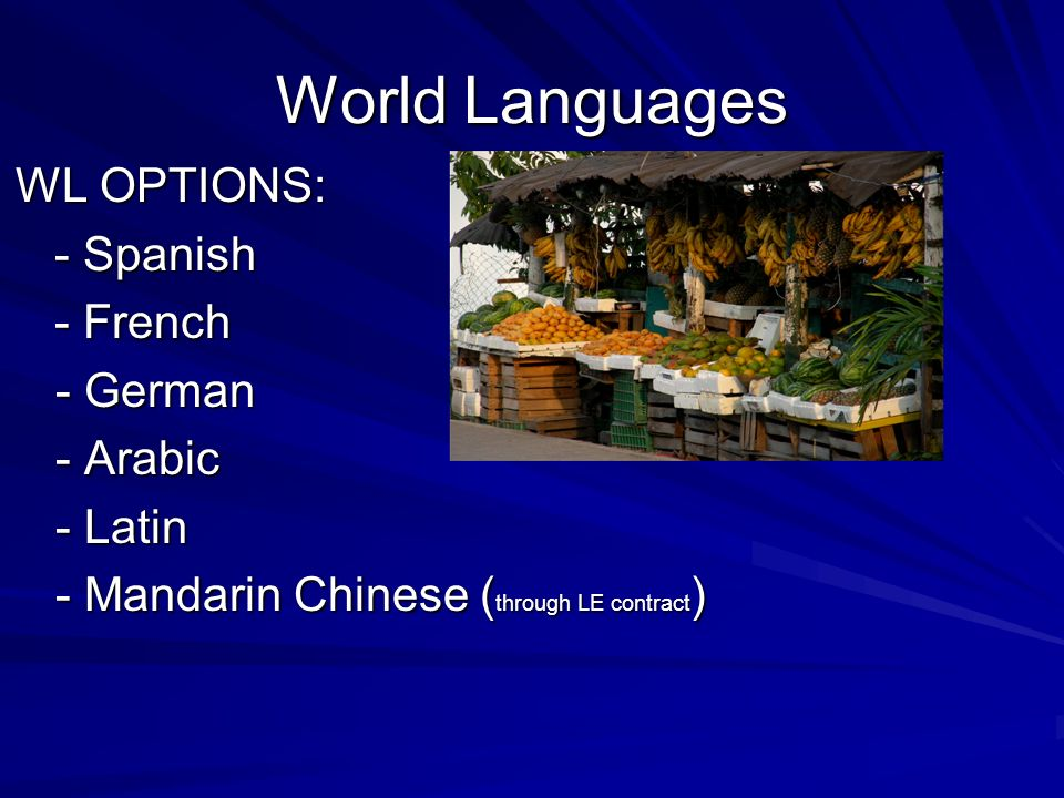 World Languages WL OPTIONS: - Spanish - Spanish - French - French - German - Arabic - Latin - Mandarin Chinese ( through LE contract )