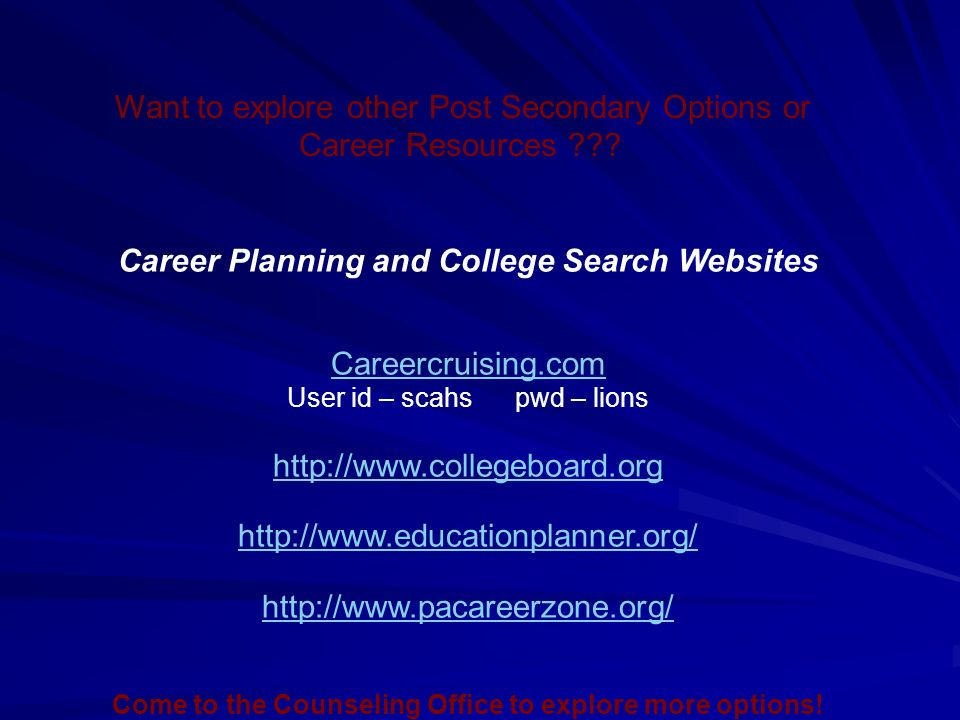 Want to explore other Post Secondary Options or Career Resources .