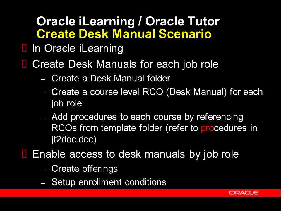 11 Oracle ILearning Tutor Create Desk Manual