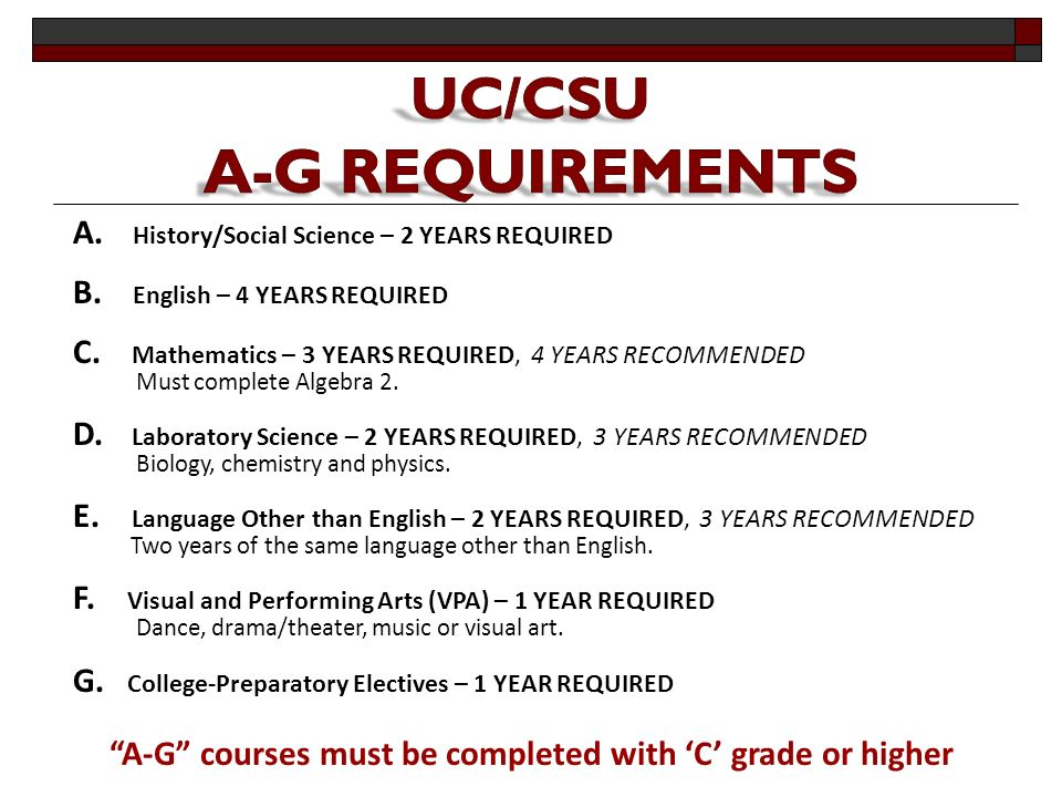 A-G courses must be completed with 'C' grade or higher A.