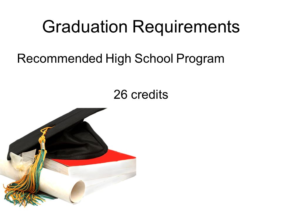 Graduation Requirements Recommended High School Program 26 credits