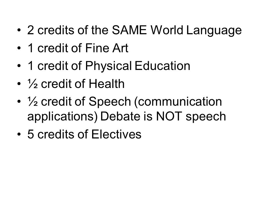 2 credits of the SAME World Language 1 credit of Fine Art 1 credit of Physical Education ½ credit of Health ½ credit of Speech (communication applications) Debate is NOT speech 5 credits of Electives